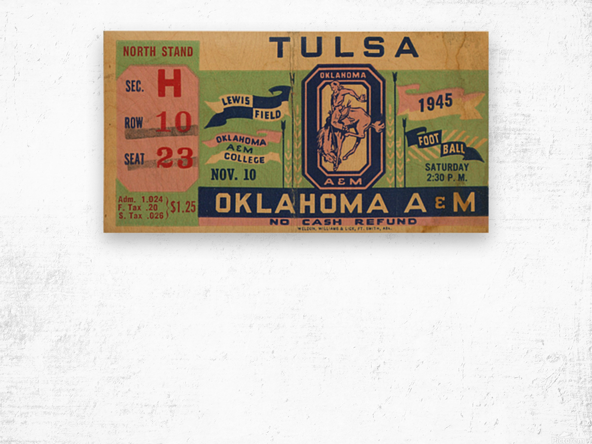 1945 Oklahoma A&M vs. Tulsa Wood print