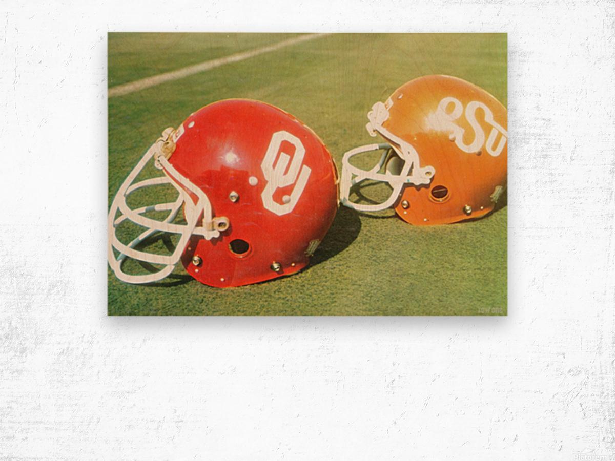 1978 Oklahoma Sooners OSU Cowboys Football Helmet Art  Wood print
