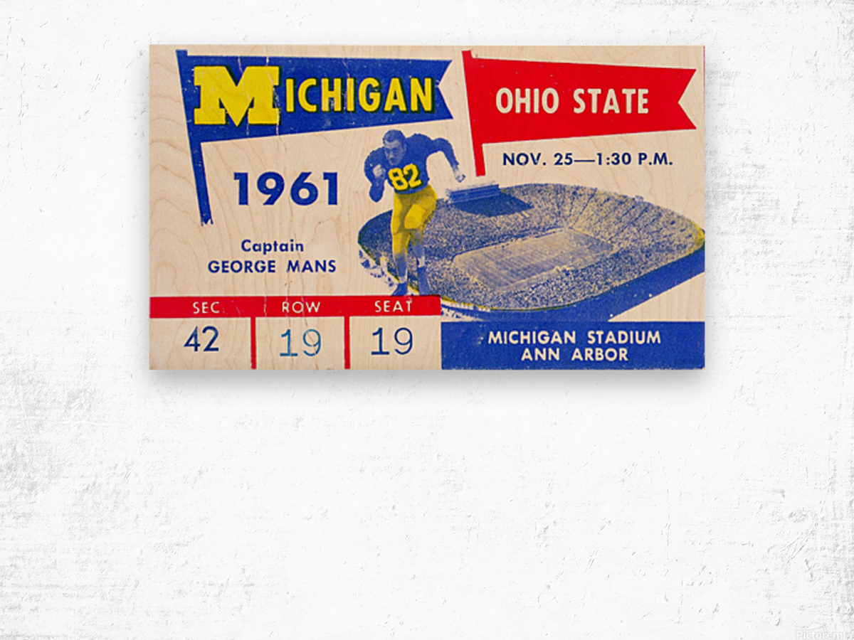 1961_College_Football_Ohio State vs. Michigan_Michigan Stadium_Ann Arbor_Row One Brand Wood print