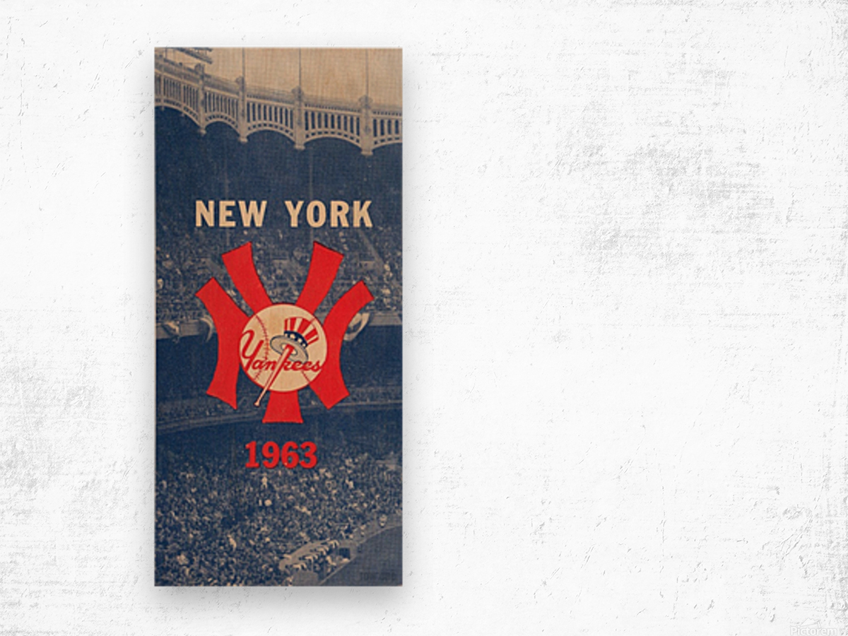1963 New York Yankees Baseball Cover Art by Row One Brand  Wood print