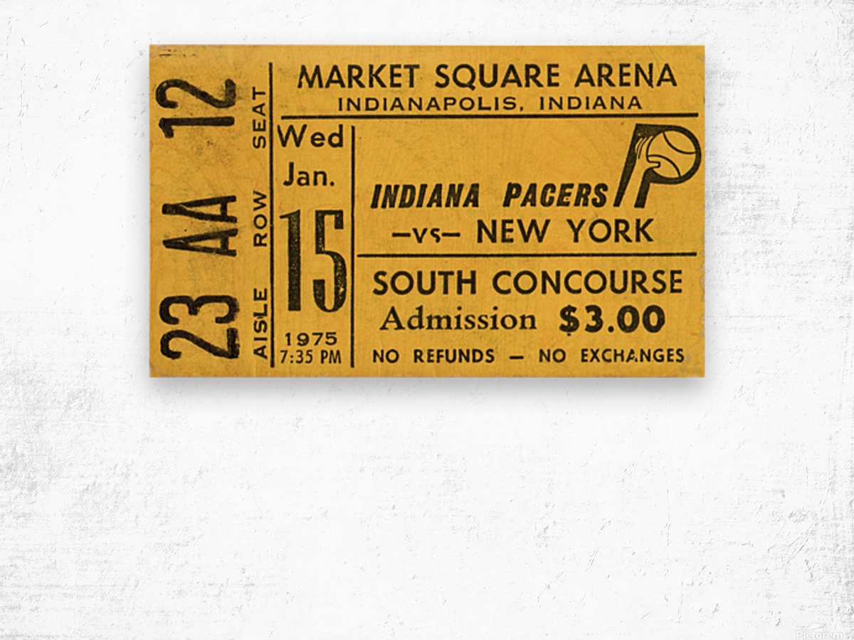 1975_American Basketball Association_New York Nets vs. Indiana Pacers_Market Square Arena_Row One Wood print