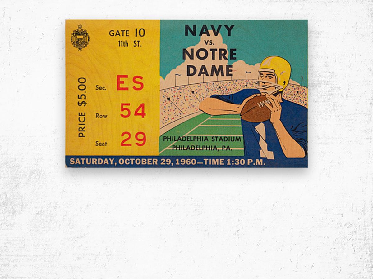 1960_College_Football_Notre Dame vs. Navy_Municipal Stadium_Row One Brand Football Art Wood print