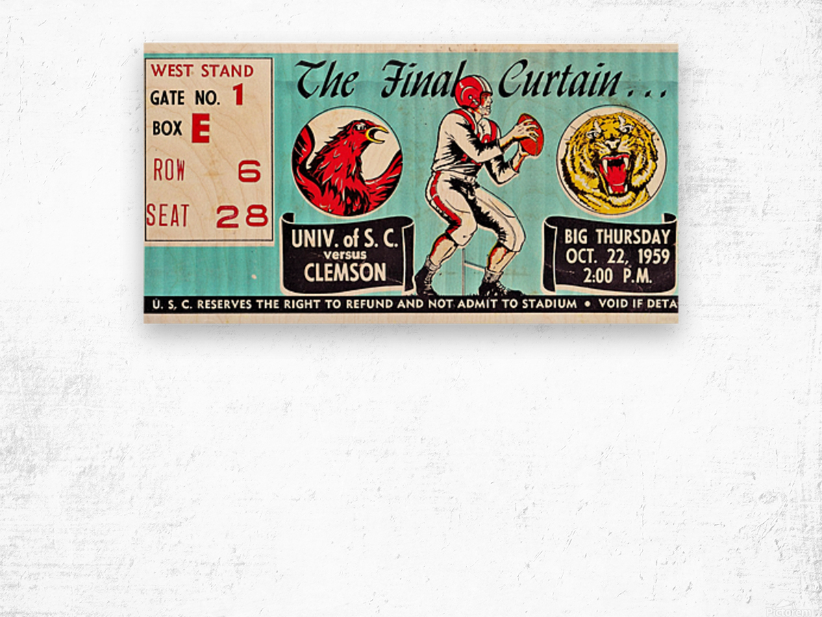 1959 South Carolina Gamecocks vs. Clemson Tigers Ticket Art Row One Brand College Wood print