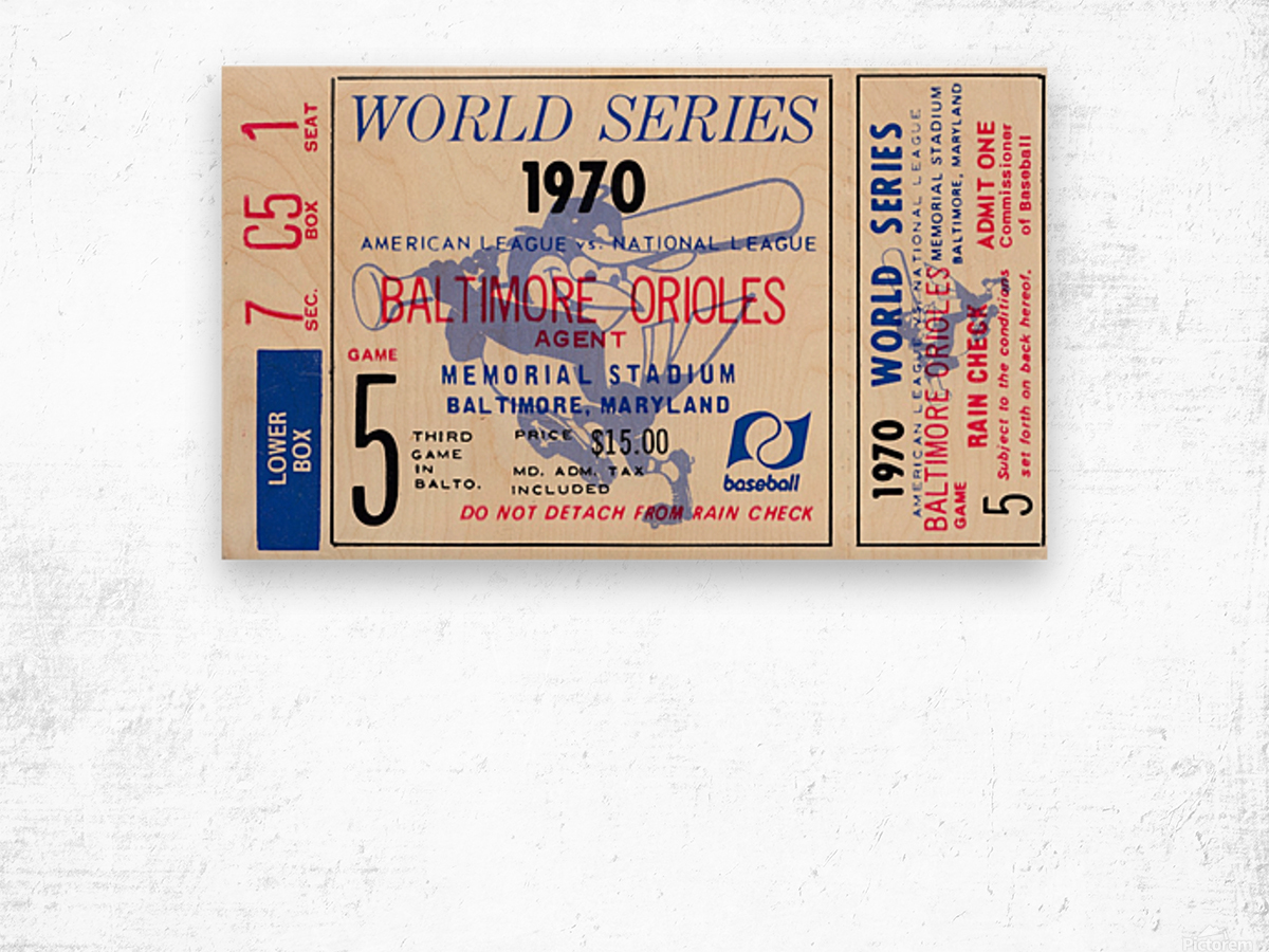 1970_Major League Baseball_World Series_Baltimore Orioles vs. Cincinnati Reds_Memorial Stadium_Row 1 Wood print