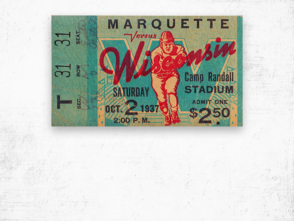 1937 Marquette vs. Wisconsin Wood print