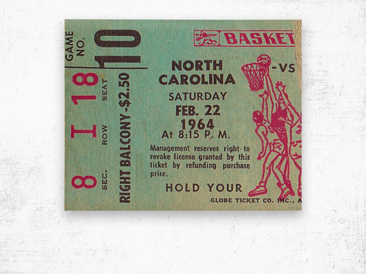 1964 College Basketball North Carolina vs. North Carolina State Wood print