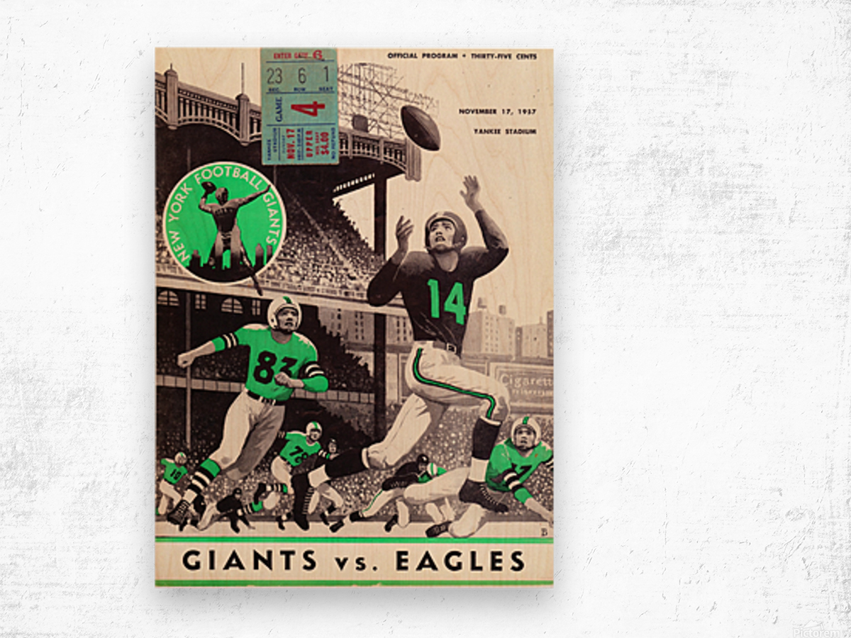 1957_National Football League_New York Giants vs. Philadelphia Eagles_Yankee Stadium_Row One Art Wood print