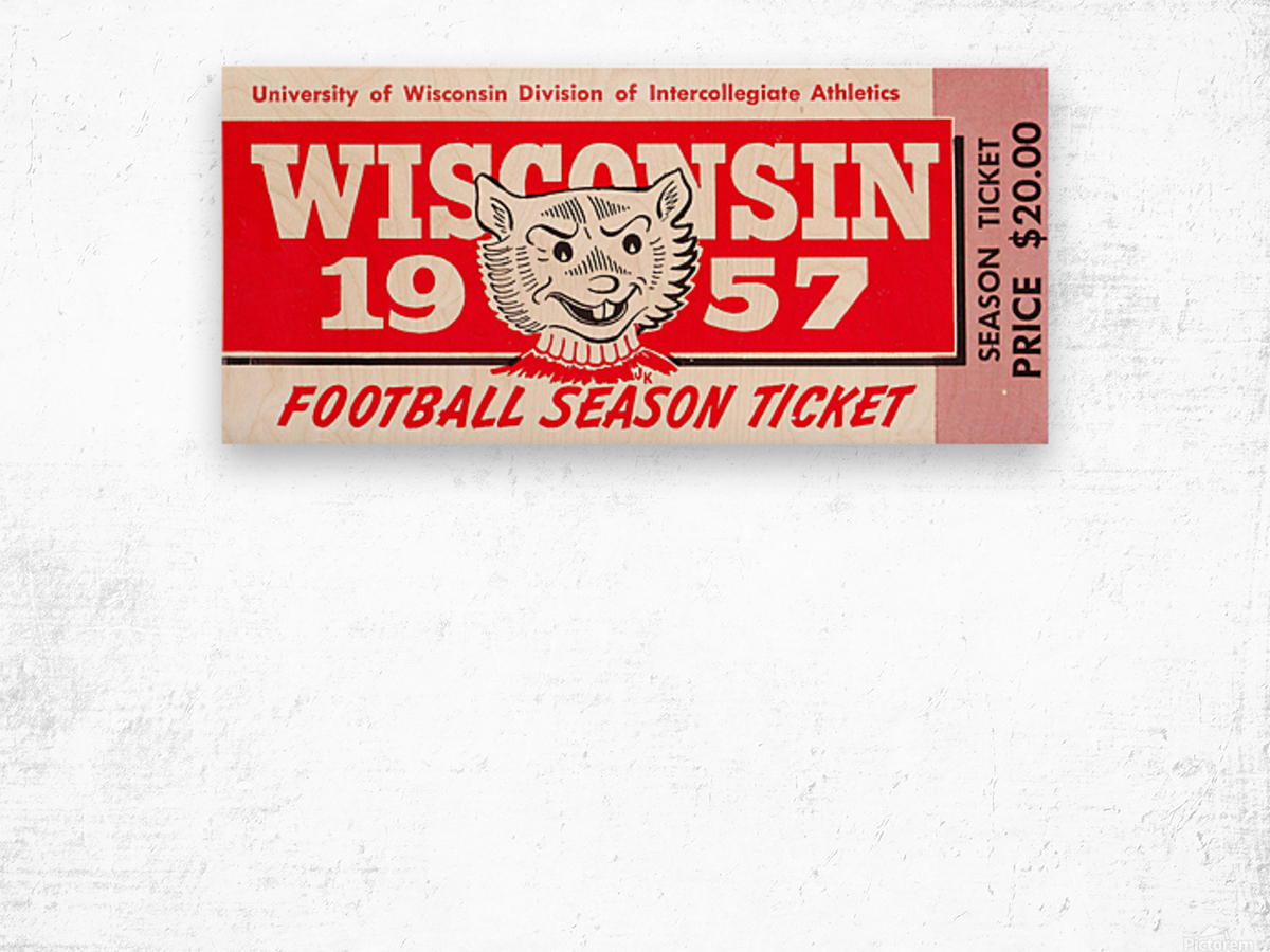 1957 Wisconsin Badgers Season Ticket Wood print