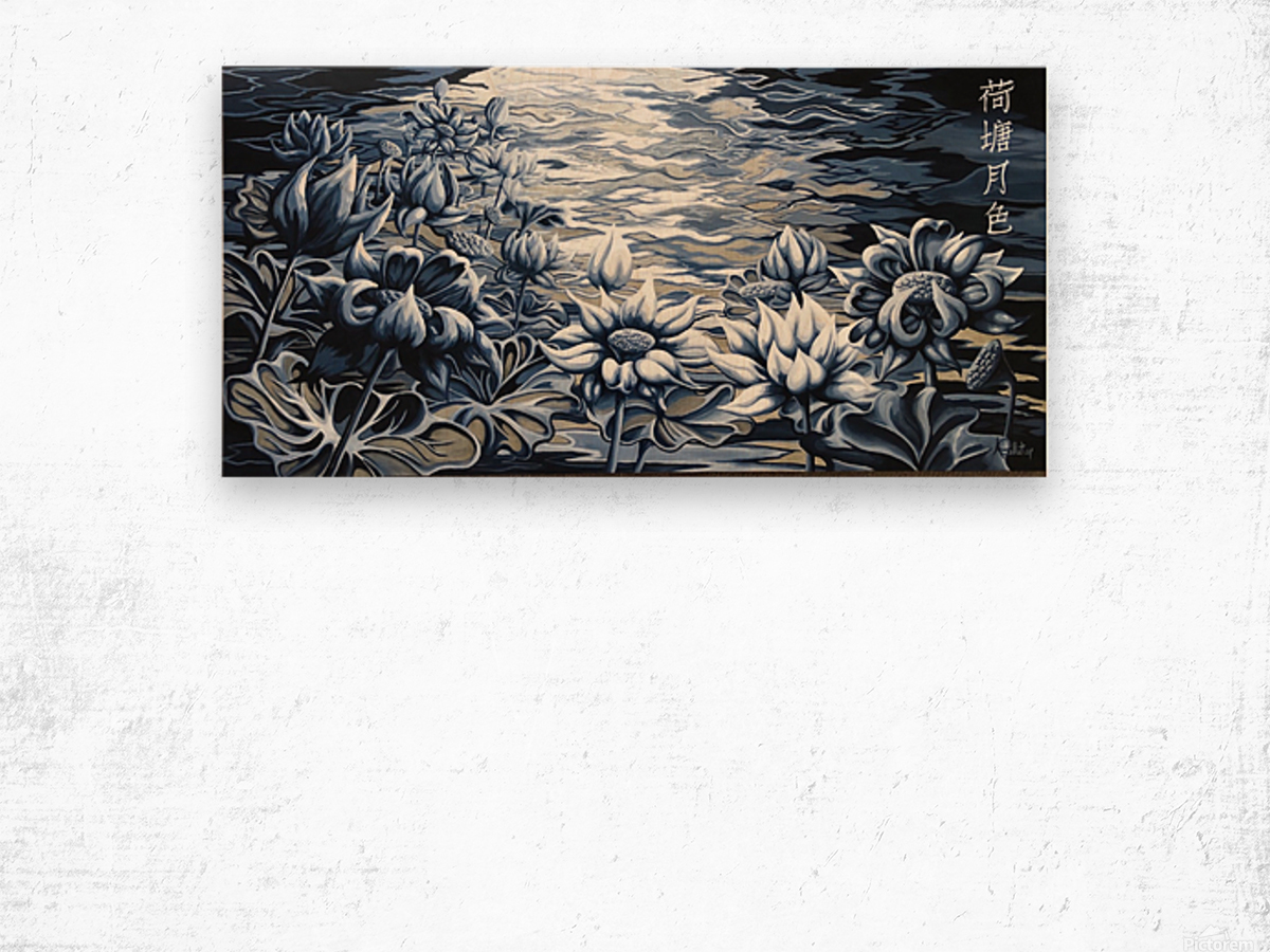 Silver night Wood print