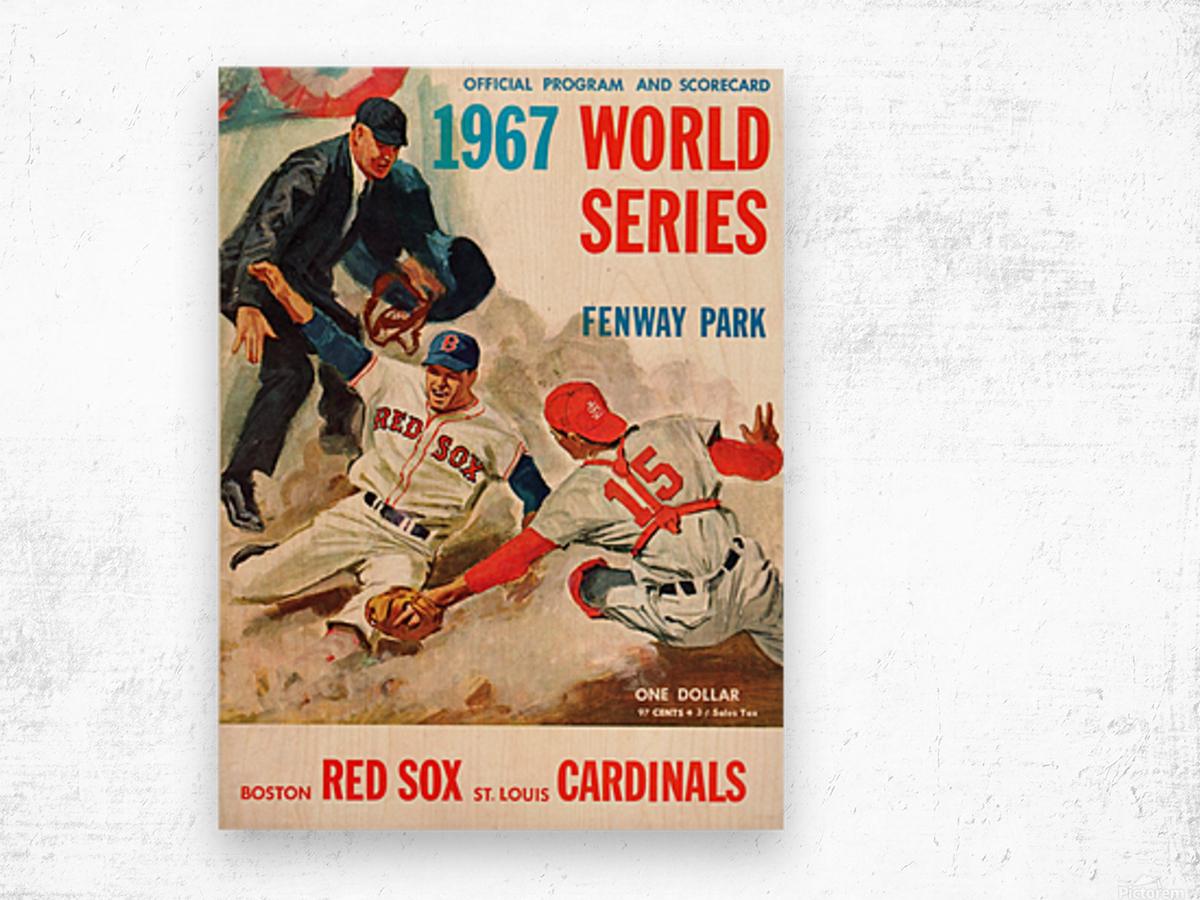 1967 World Series Program Cover Art Fenway Park Wood print