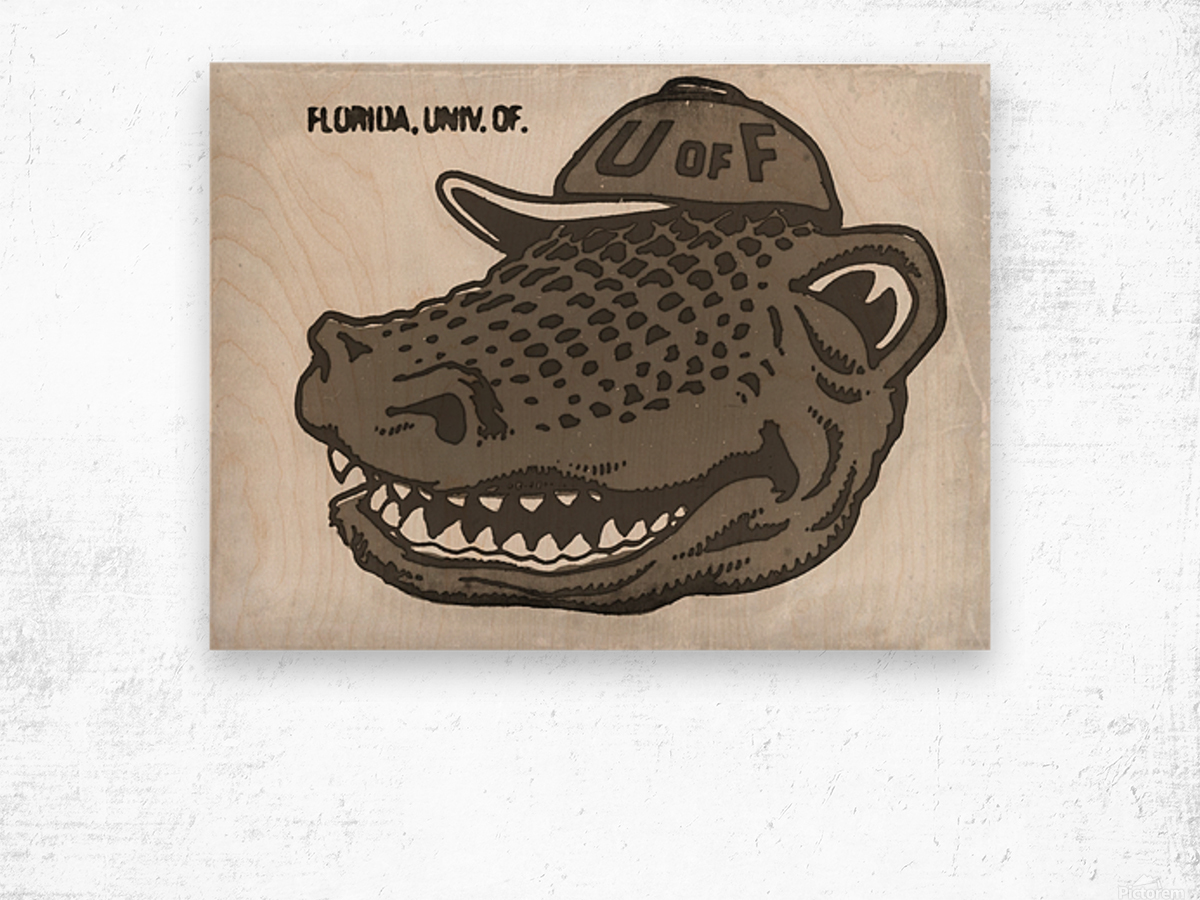 Vintage Florida Gator Art Reproduction Print Black and White Wood print