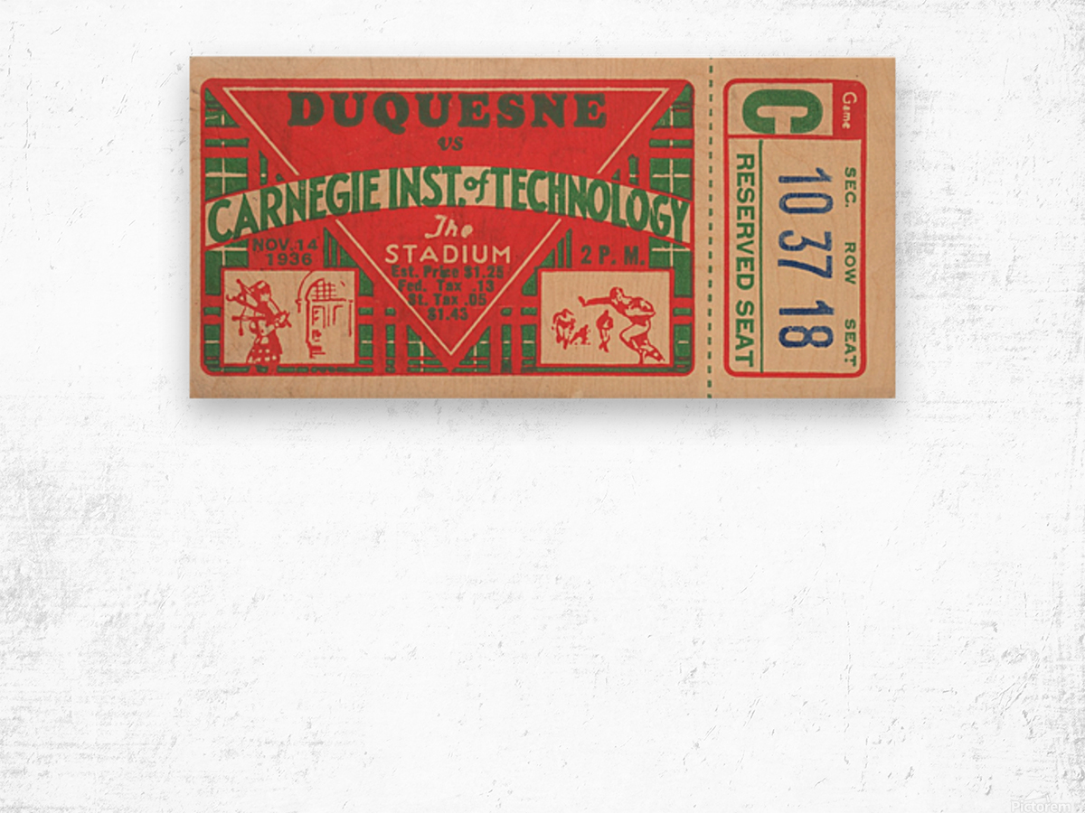 1936_College_Football_Duquesne vs. Carnegie Tech_The Stadium_Pittsburgh College Ticket Collection Wood print