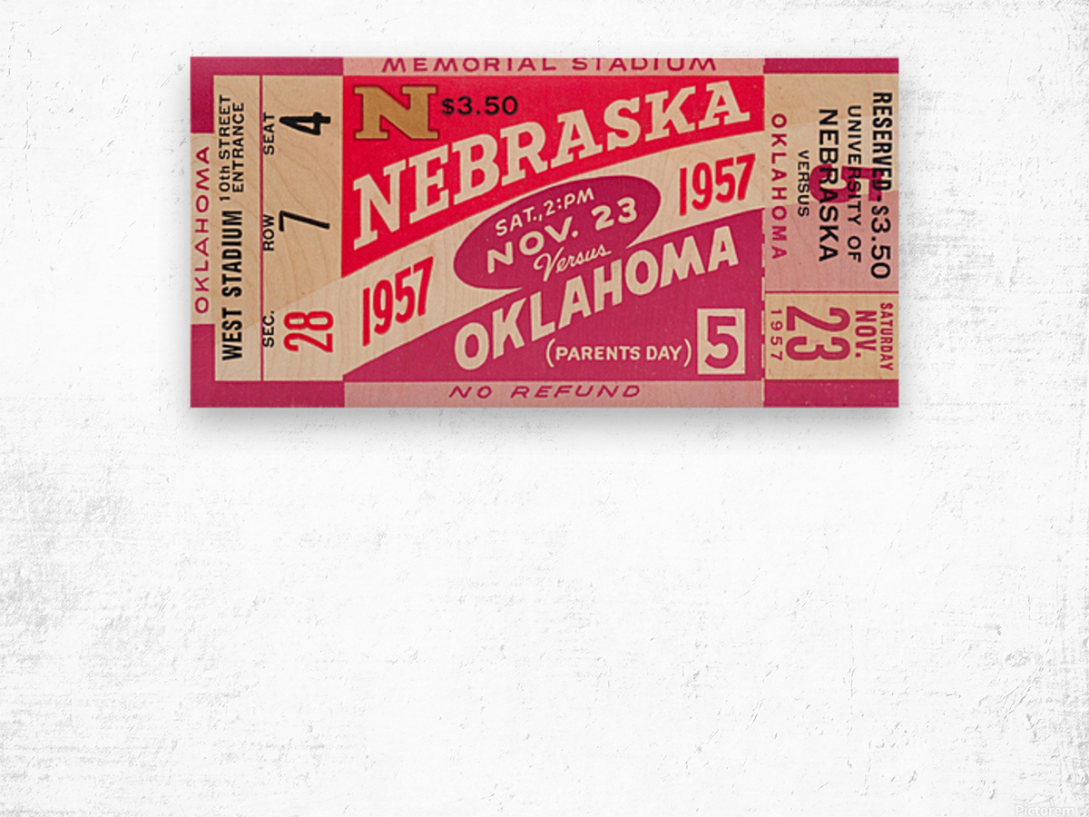 1957_College_Football_Nebraska vs. Oklahoma_Historic Memorial Stadium Lincoln_College Wall Art Wood print