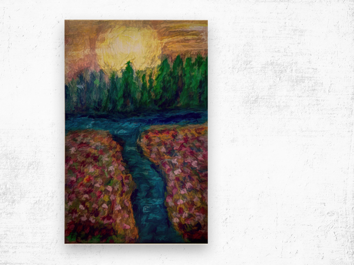 Moon over River Wood print