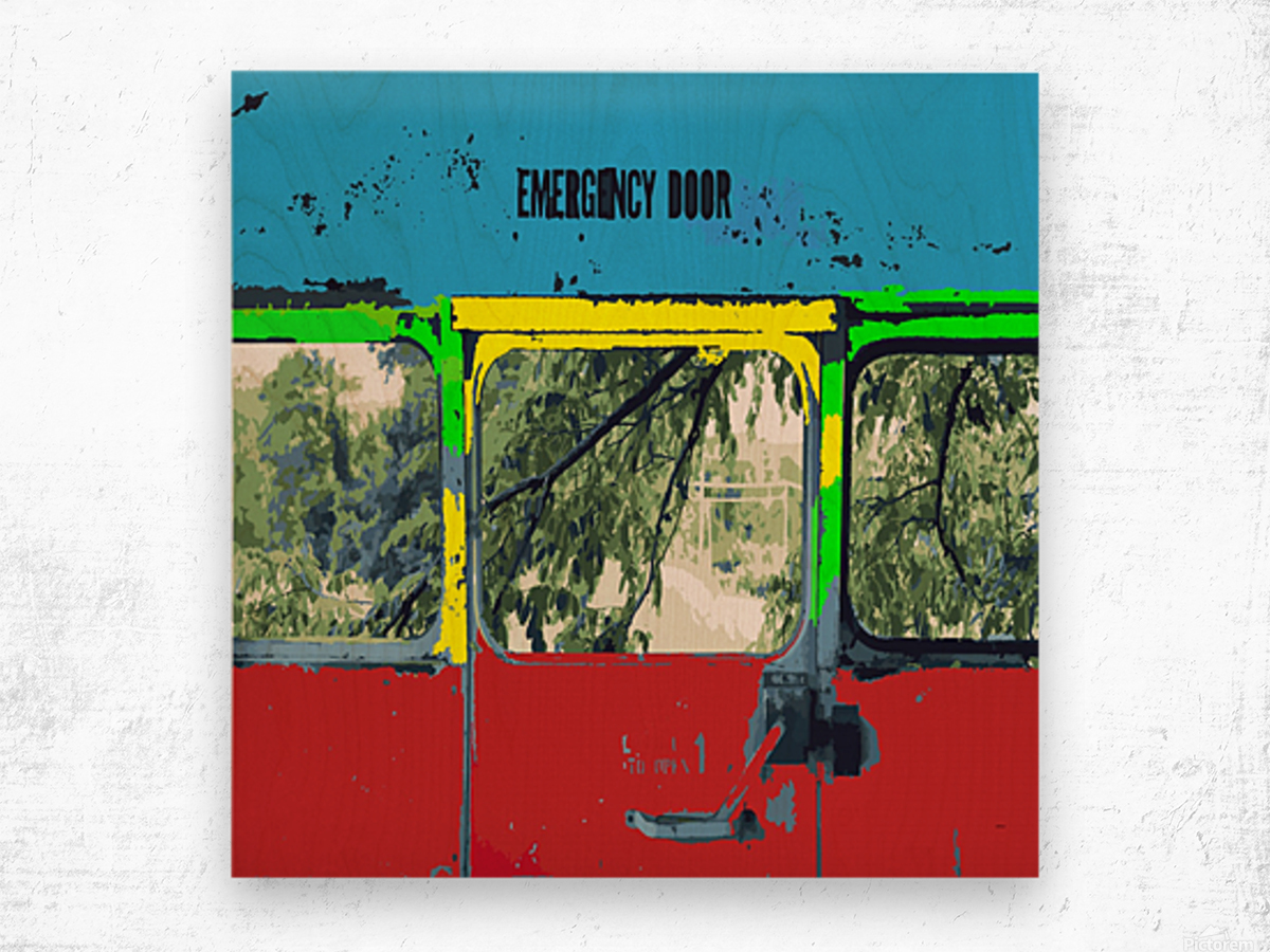 Emergency Door School Bus Wood print