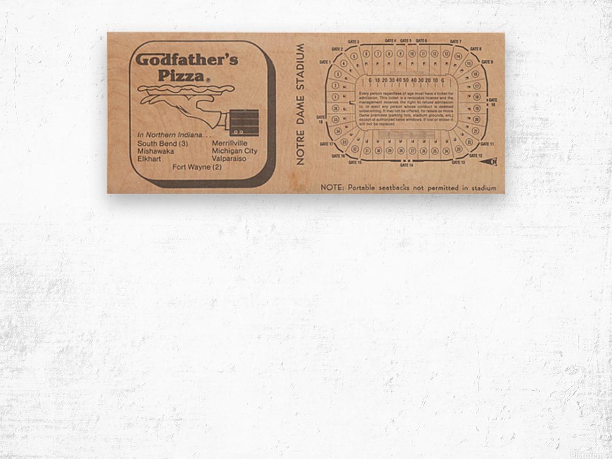 Retro Stadium Maps_Notre Dame Stadium Map_1982_South Bend Indiana Maps_Godfathers Pizza Ad_Artwork Wood print