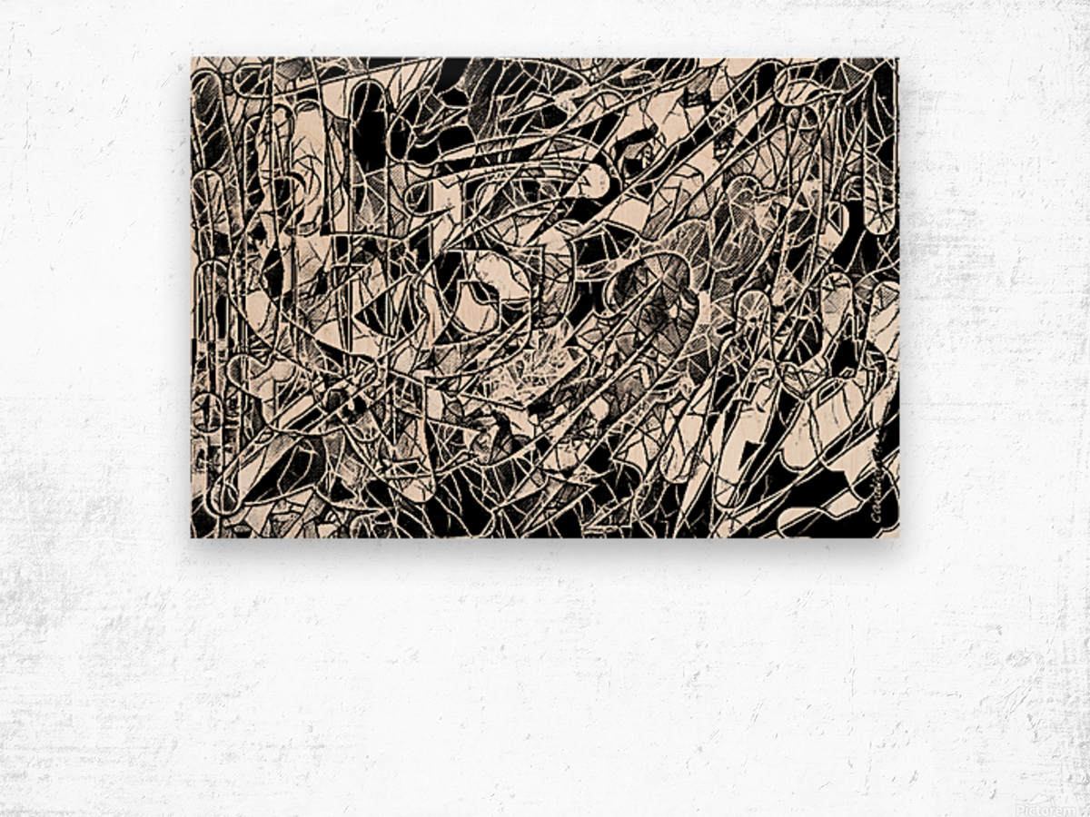 Black & White Art Threshold Light Texture Wood print