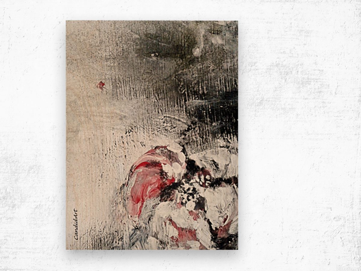 One Flower Red Black White Wood print