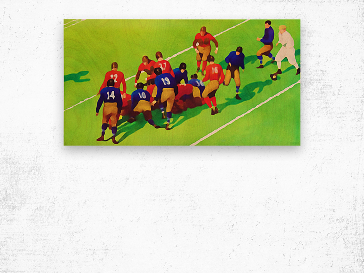 Vintage Football Art Sunny Day Gridiron Artwork Wood print