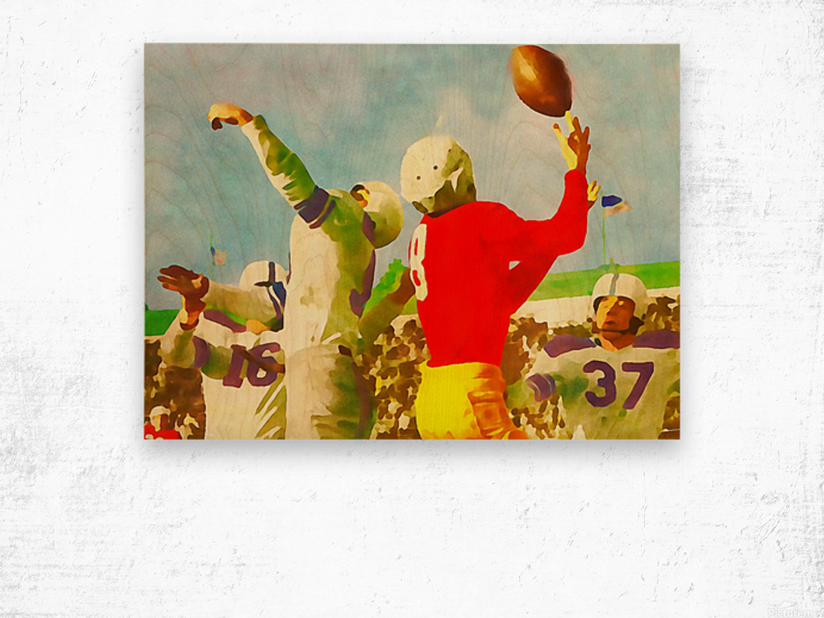 Vintage Football Print_Touchdown Catch Artwork Wood print
