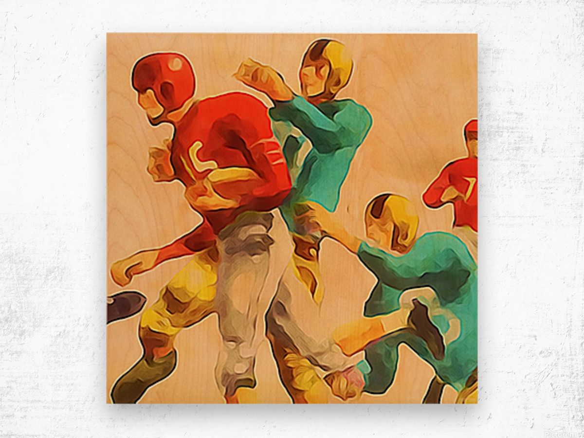 Vintage Football Jersey Art Print Wood print