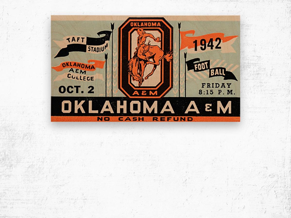 Vintage Oklahoma A&M Art Wood print