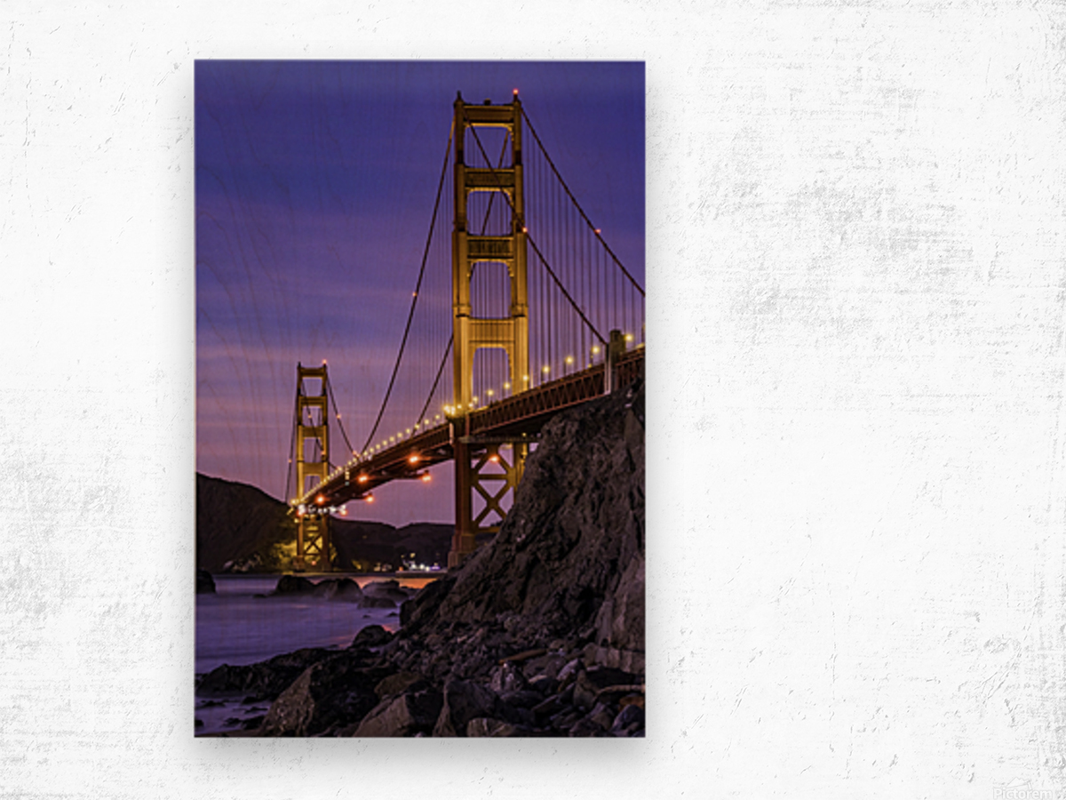 Golden Gate Blue Hour Wood print