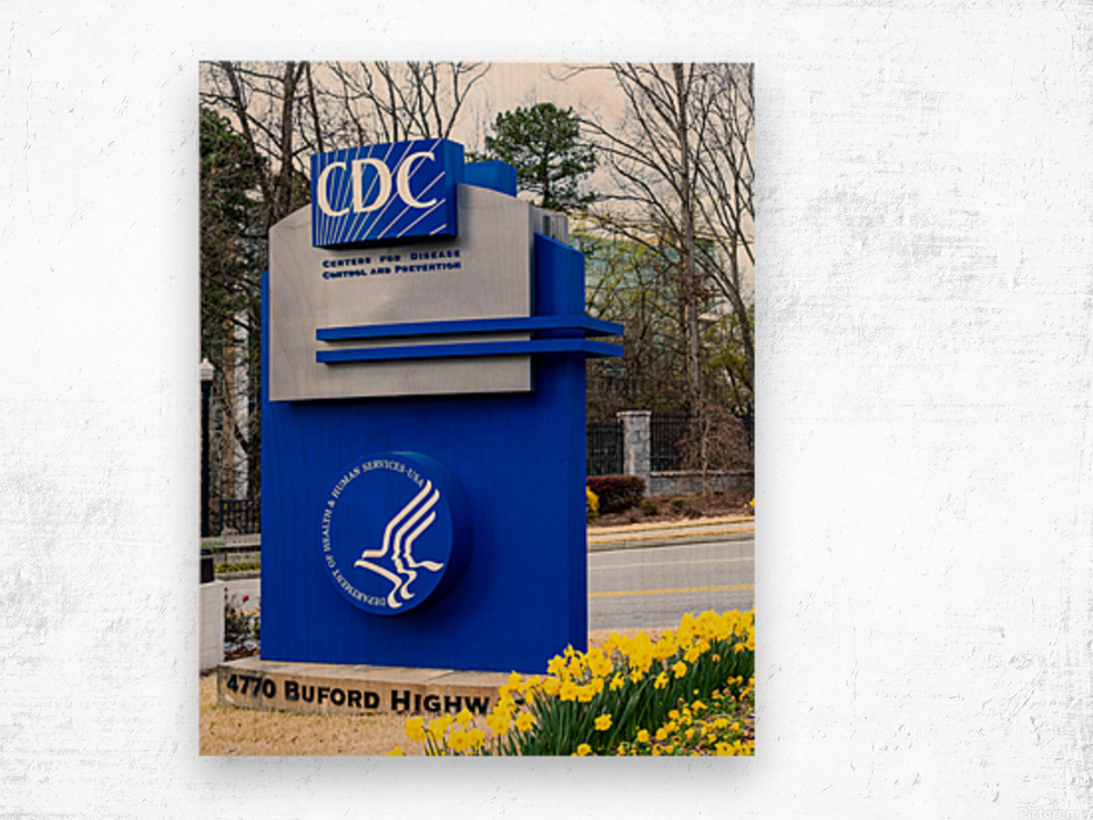 Centers for Disease Control CDC Sign   Atlanta GA 02775 Wood print