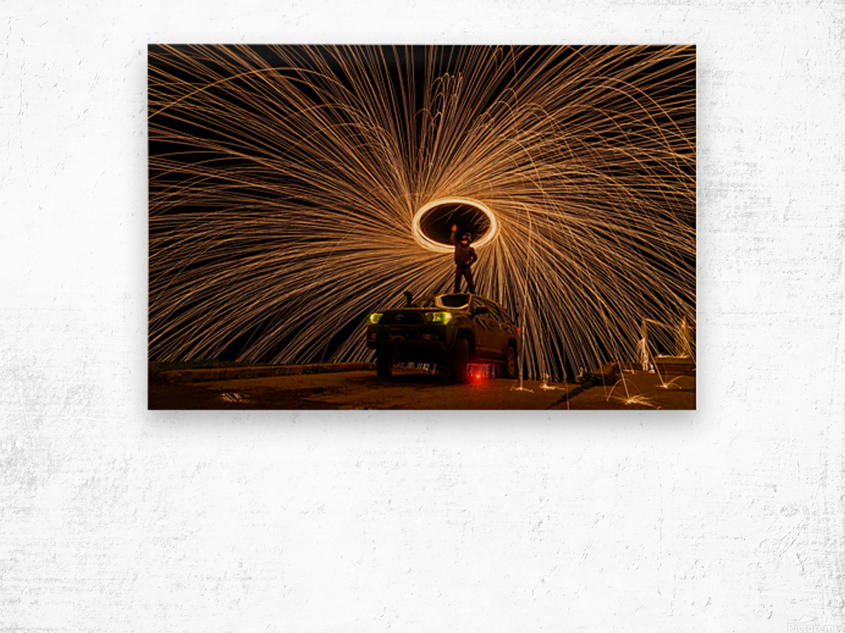Hes on fire Wood print