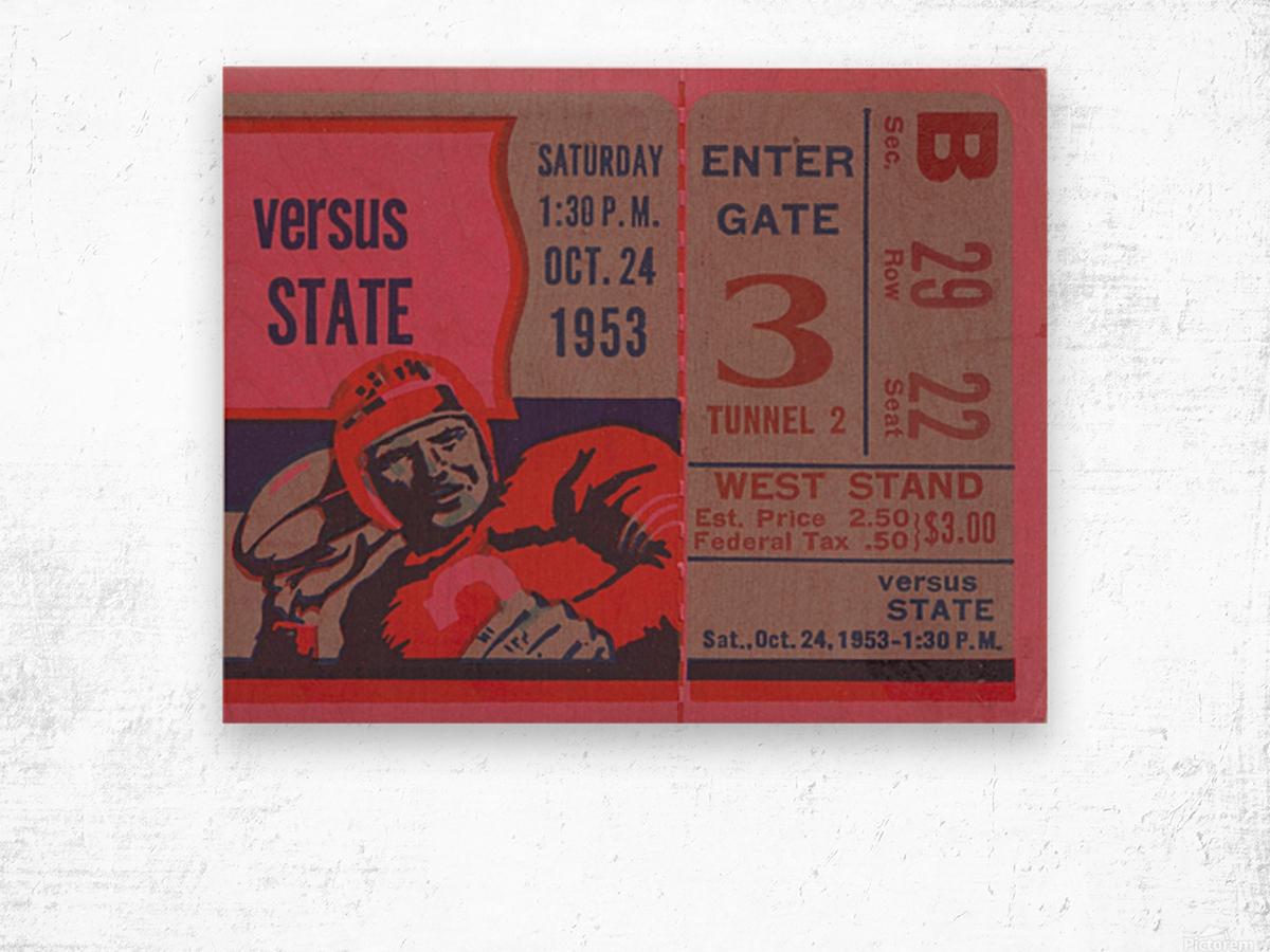 Vintage Football Ticket Stub Art  Wood print
