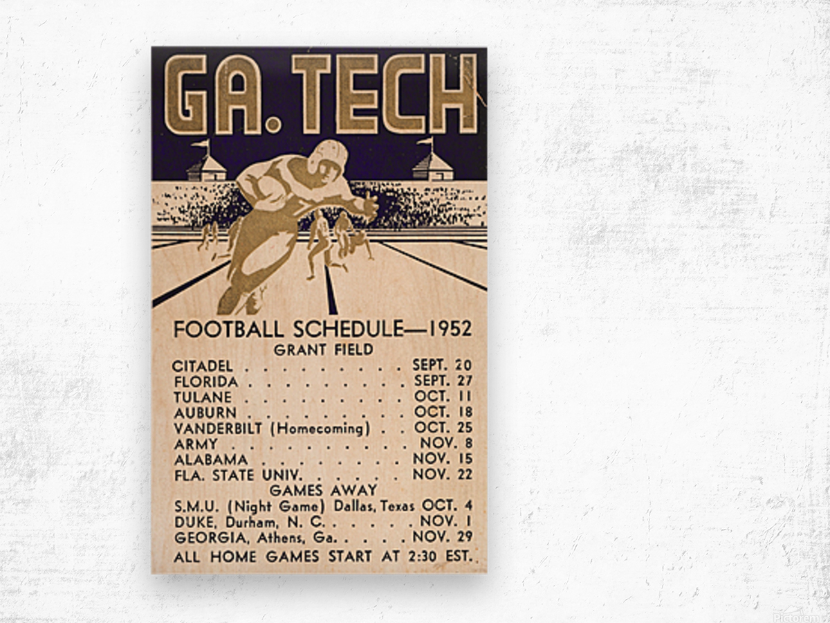 Vintage Football Schedules_College Football Schedule_1952 Georgia Tech Yellow Jackets_Schedule Art Wood print
