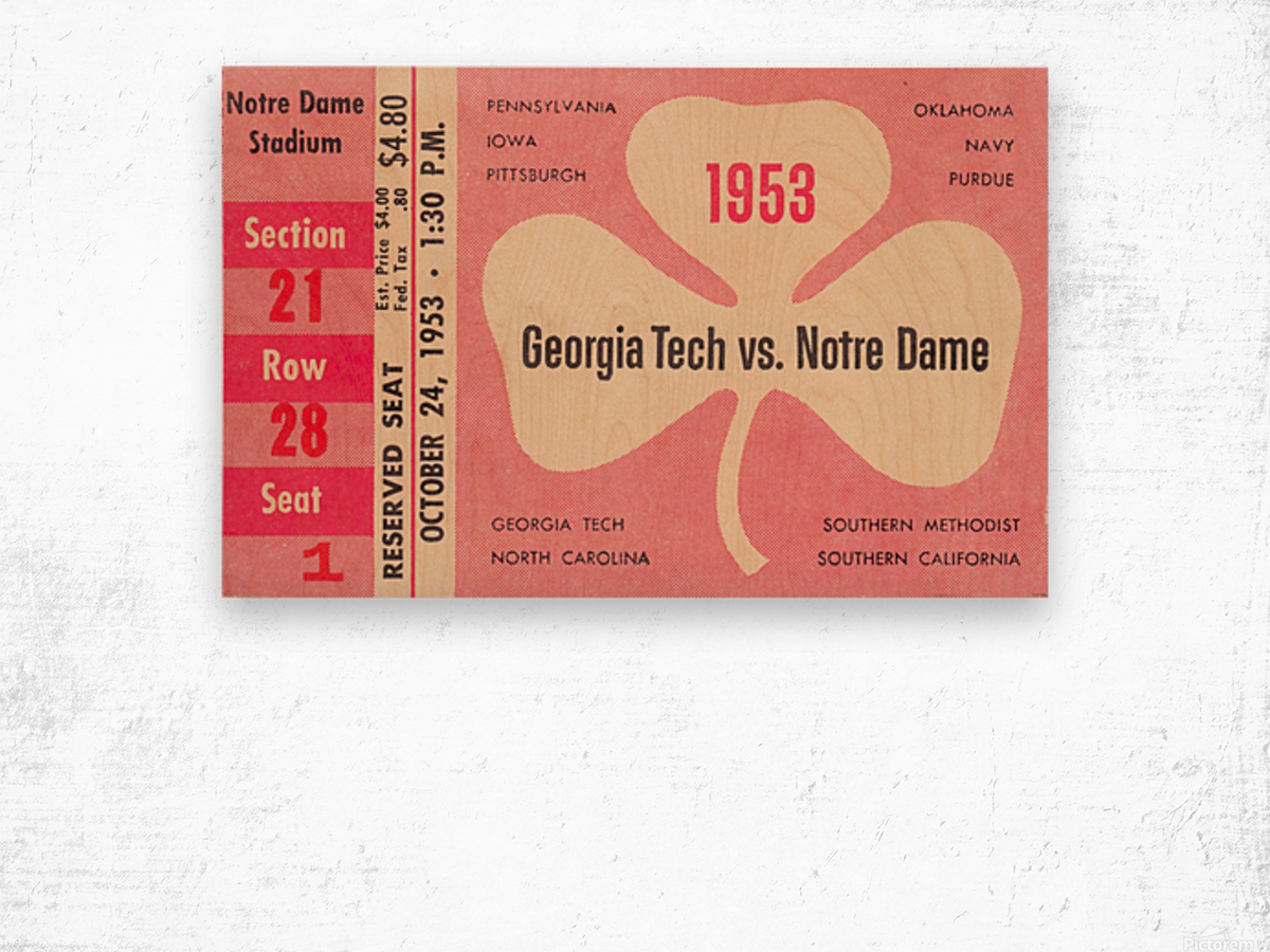 1953_College_Football_Notre Dame vs. Georgia Tech_Notre Dame Stadium_College Ticket Collection Art (1) Wood print