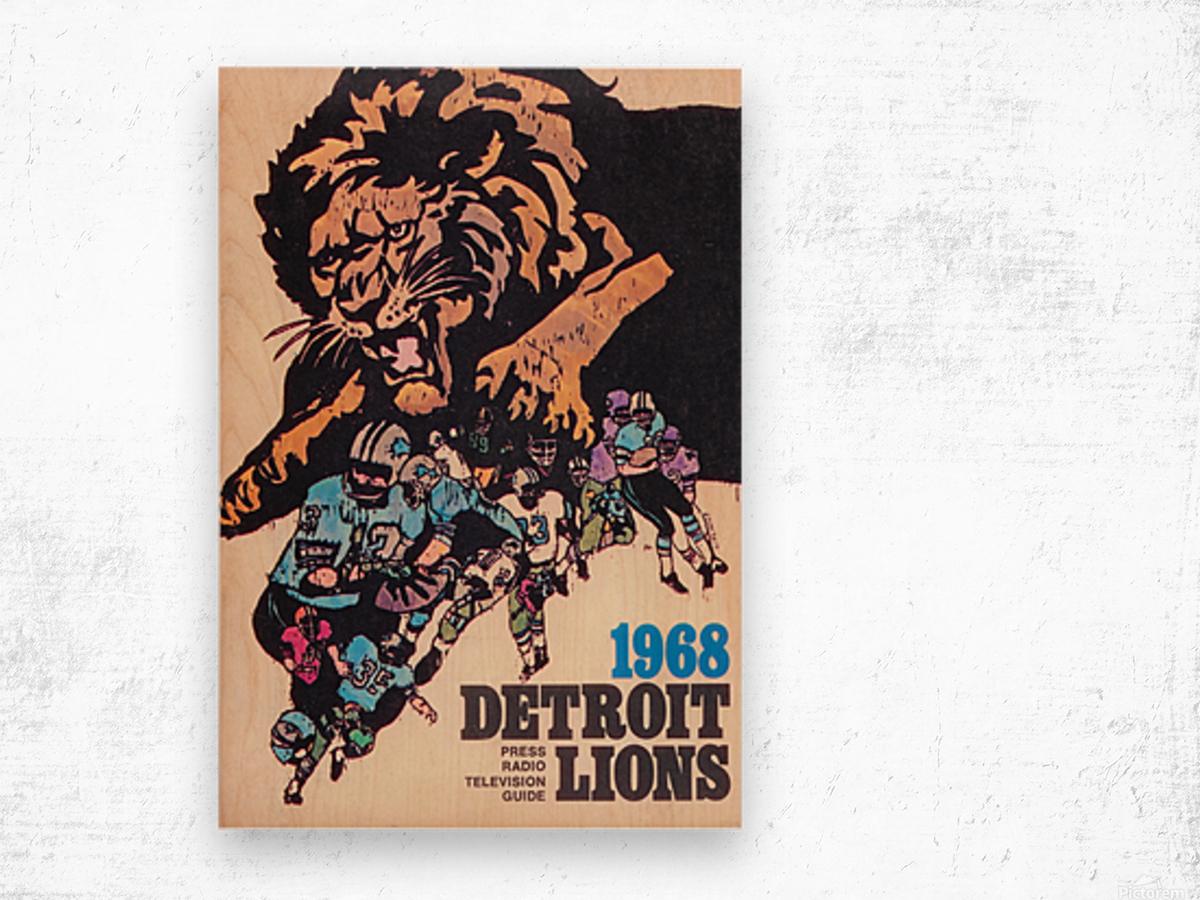 1968 Detroit Lions NFL Press Guide Reproduction Art_Detroit Michigan Gift Ideas Wood print