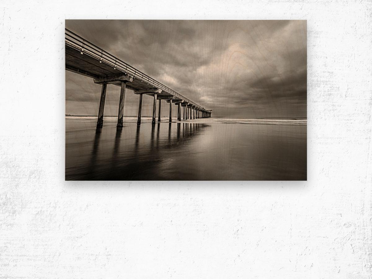 B&W Scripps Pier San Diego Wood print