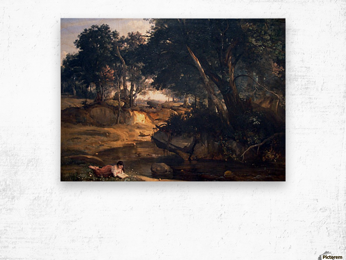 Forest of Fontainebleau by Corot Wood print
