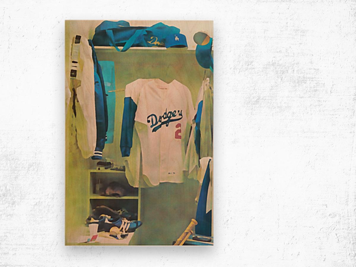 Vintage LA Dodgers Baseball Locker Room Art_Retro Baseball Art Print Los Angeles Dodgers Jersey_Art (1) Wood print
