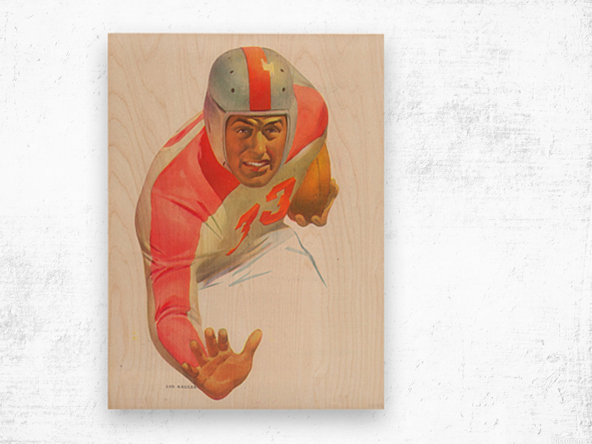 Lon Keller Football Art Reproduction_Best Vintage Football Art_Football Art Print Digitally Restored Wood print