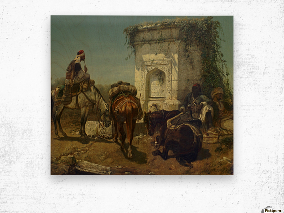 Arabs resting by a marble fountain Wood print