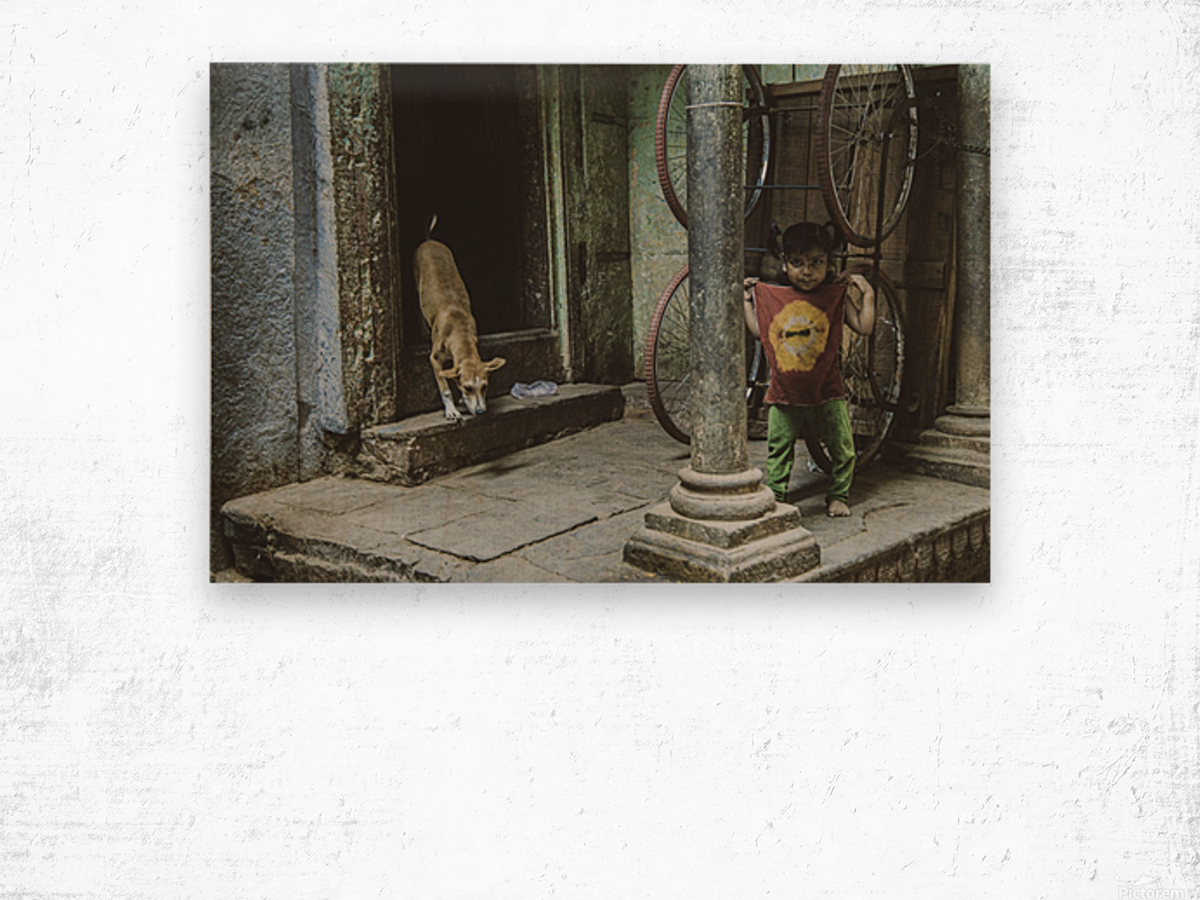Varanasi girl and dog Wood print
