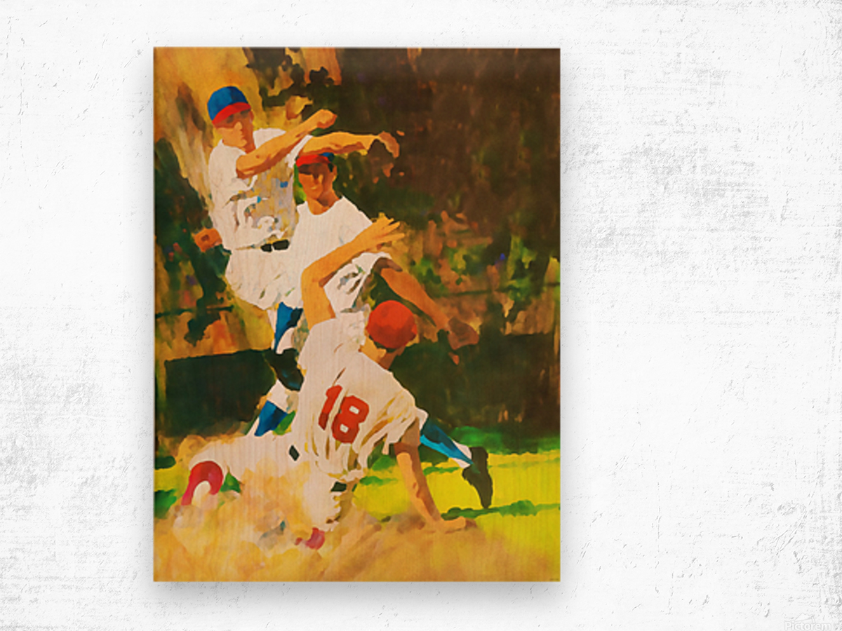 vintage watercolor style baseball art poster print sports artwork row one collection Wood print