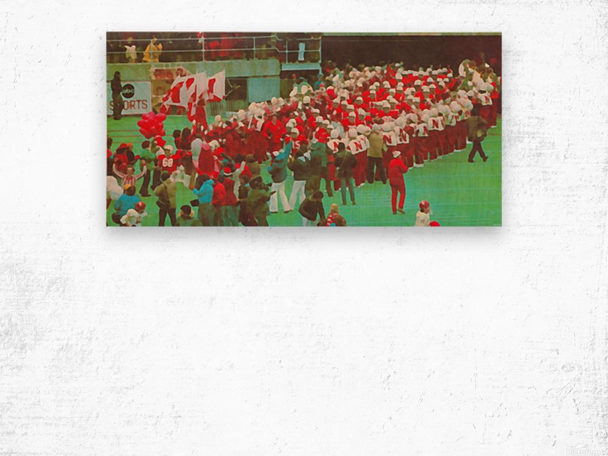 nebraska football art vintage college poster Wood print
