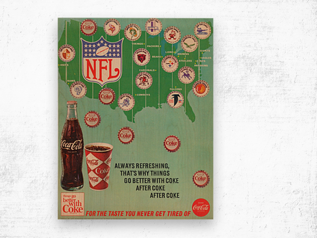 Vintage Coke NFL Bottle Cap Ad Wood print