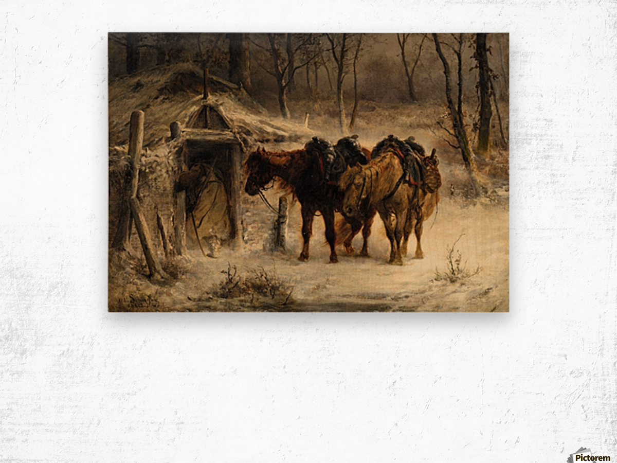 Resting horses Wood print