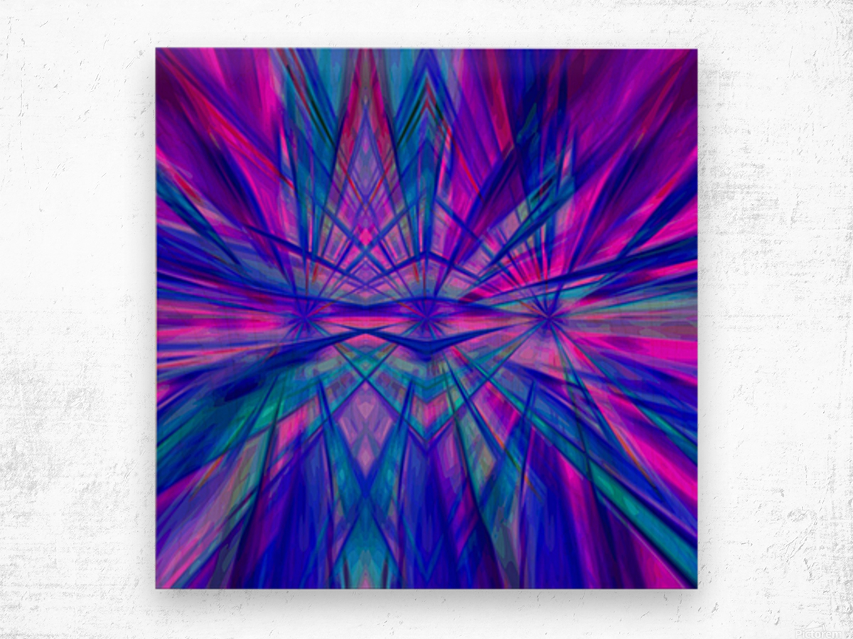 High Vitality - pink blue purple line abstract wall art Wood print