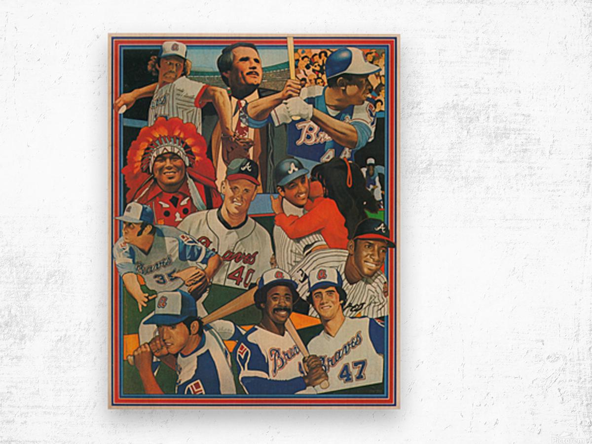 atlanta braves poster vintage baseball retro sports art reproduction Wood print