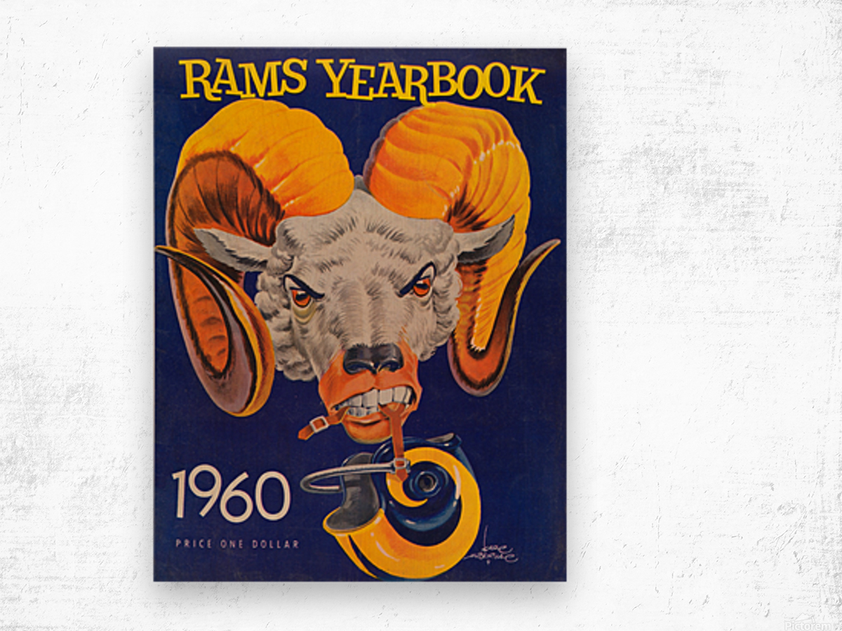 1960 nfl los angeles rams yearbook cover art price one dollar karl hubenthal Wood print