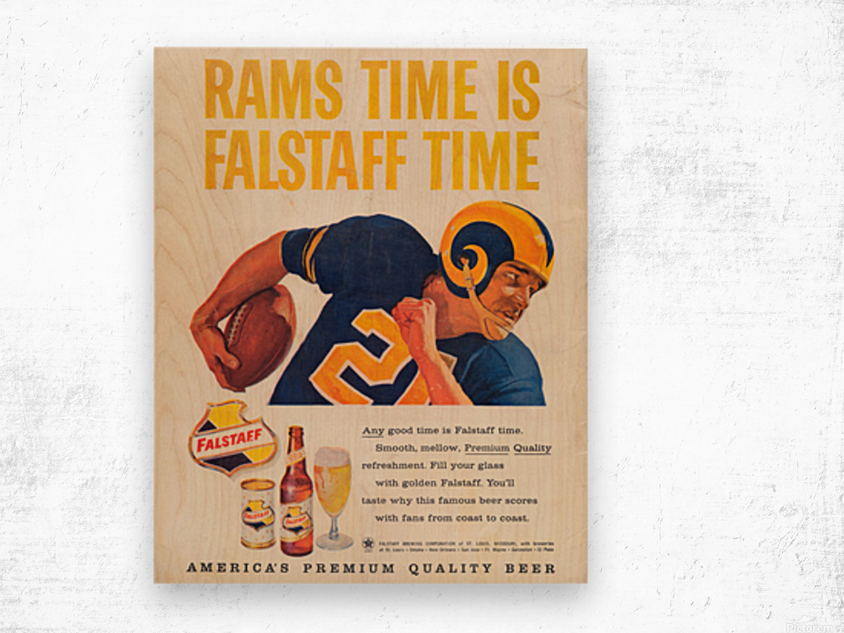 vintage falstaff beer ad la rams poster retro ads reproduction art Wood print