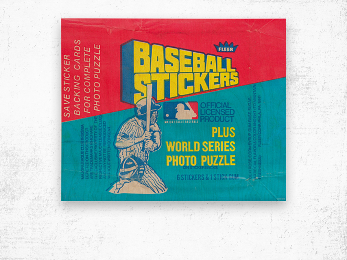 vintage fleer mlb baseball sticker package art design reproduction art Wood print
