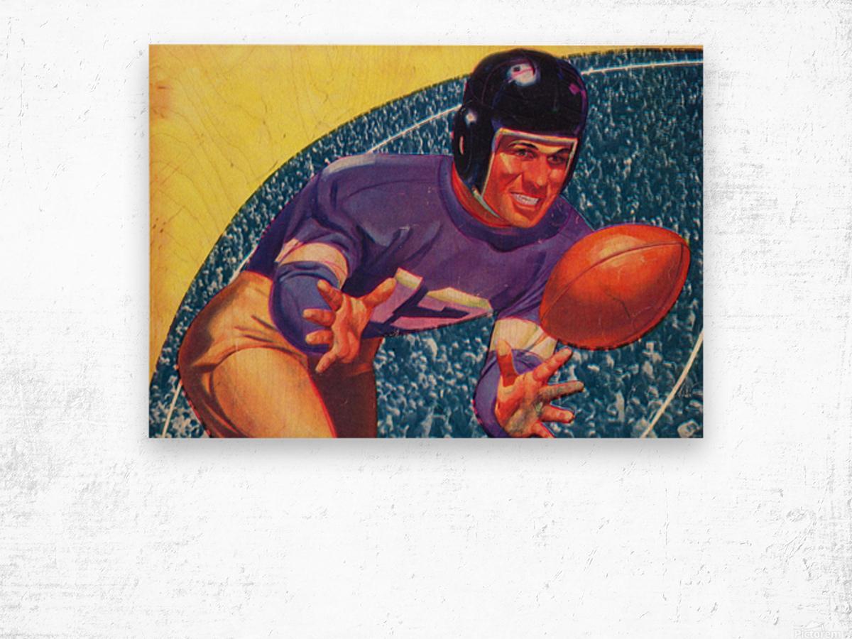 vintage football posters retro sports art print Wood print