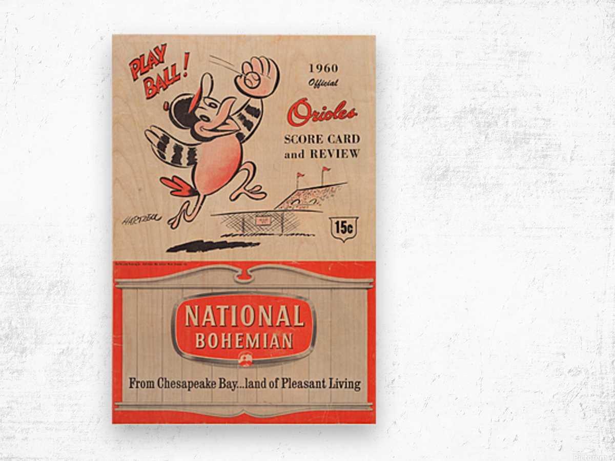 1960 baltimore orioles baseball score card review national bohemian beer ad poster Impression sur bois